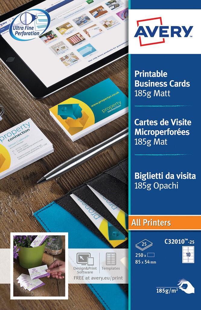 Avery Compatibles Cartes De Visite C32010 25