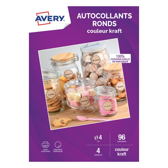 Autocollants ronds couleur kraft C9422K-4