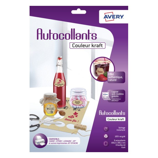 Autocollants couleur kraft, adhésif permanent C9410K